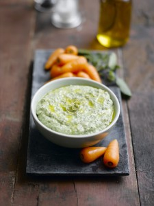 Chantenay dippers with butterbean, watercress and lemon dip