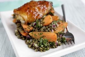 Cumin Spiced Chantenay & Lentil Salad with Mango Chicken