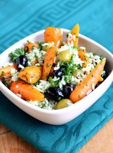 Roasted chantenay carrot coriander olive and rice salad