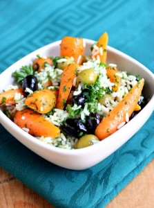 Roasted chantenay carrot coriander olive and rice salad