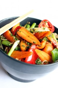 Stir fried chantenay carrots with noodles and a soy-honey dressing