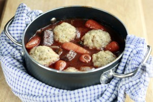 Beef & Chantenay Casserole with cheddar cheese and thyme dumplings