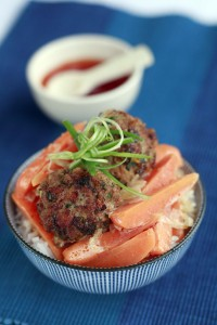 Oriental pork meatballs with chantenay carrots coconut and coriander