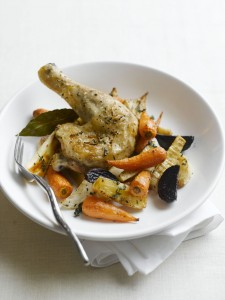 Easy Roasted Chantenay and Roots with Lemon and Thyme Chicken